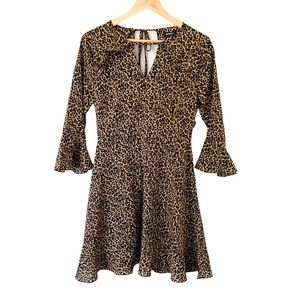 Boohoo Leopard Print Dress with Bell Sleeves